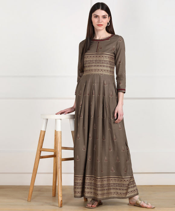 Rayon Ethnic Pleted Floor Length Dress - Grey