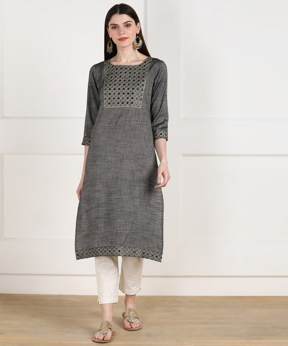 Rayon Slub Thread Mirror Embroidered Straight Kurta - Grey