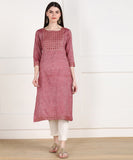 Rayon Slub Thread Mirror Embroidered Straight Kurta - Maroon