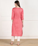 Rayon Slub Thread Mirror Embroidered Straight Kurta - Peach