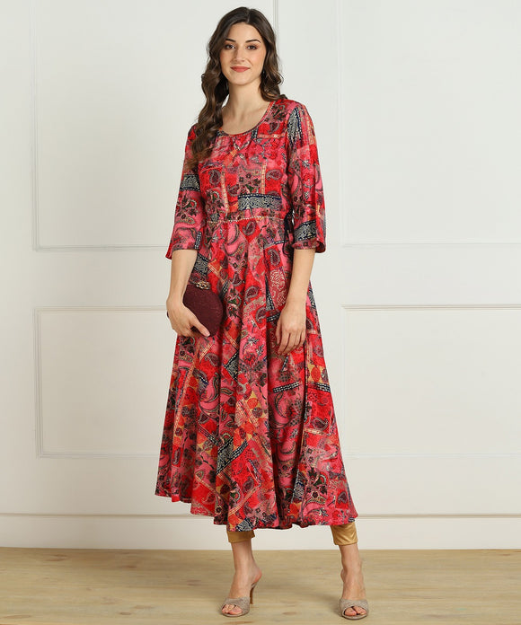 Premium Rayon Multi Ethnic Print Flared Kurta - Red
