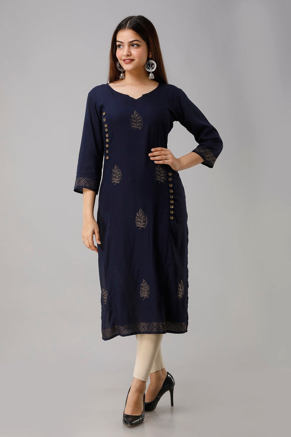 Rayon solid embellished straight kurti (Navy)
