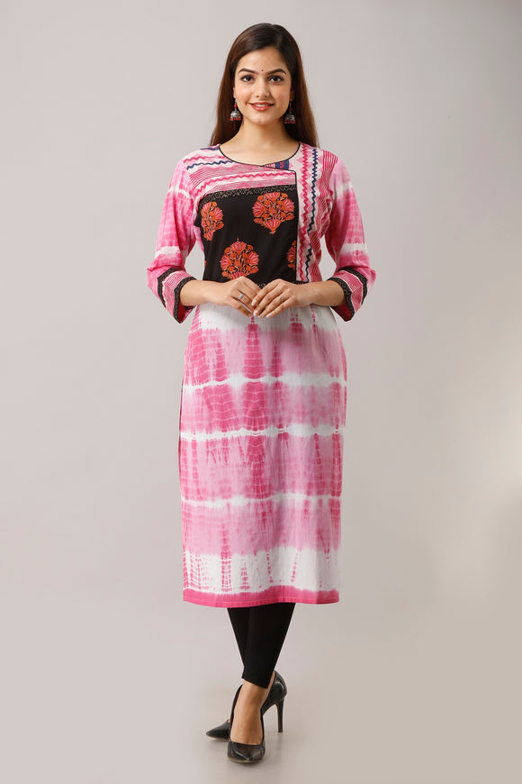 Cotton Shibori Print Straight Kurta - Pink
