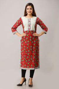 Cotton Floral Print Straight Kurta (Red)