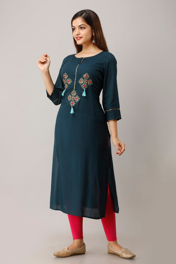 Rayon Zari Pitta Embroidered Kurta - Wine