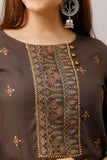 Cotton Ethnic Print Embellished Kurta and Skirt Set (Brown)