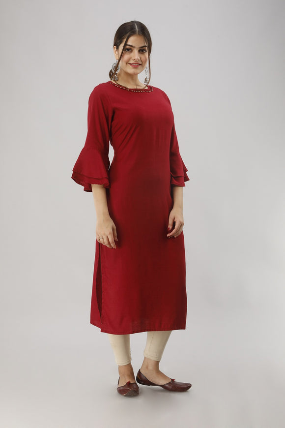 Rayon Straight Solid Bell Sleeves Kurti (Maroon)