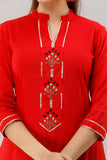 Rayon Straight Hand Embroidered Kurti (Red)