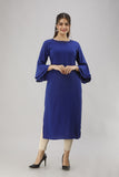 Rayon Straight Solid Bell Sleeves Kurti (Royal Blue)