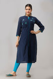 Cotton Slub Solid Embroidered Kurti (Navy)