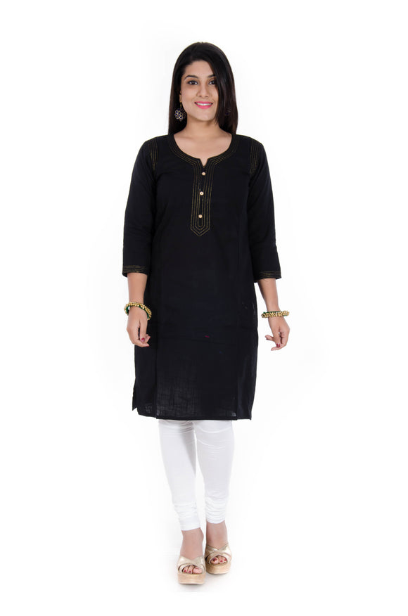 Cotton Slub Zari Quilted Straight Kurta (Black)