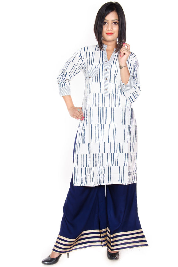 Vedana Cotton Stripes Print combination with High Low Hem (Blue)