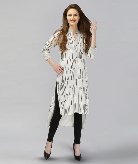 Vedana Cotton Stripes Print combination with High Low Hem (Grey)