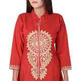 Vedana Women's Cotton Embroidered A-line Kurti