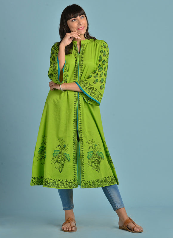 Vedana Cotton HandBlock Print kurti with Bell Sleeves (Green)