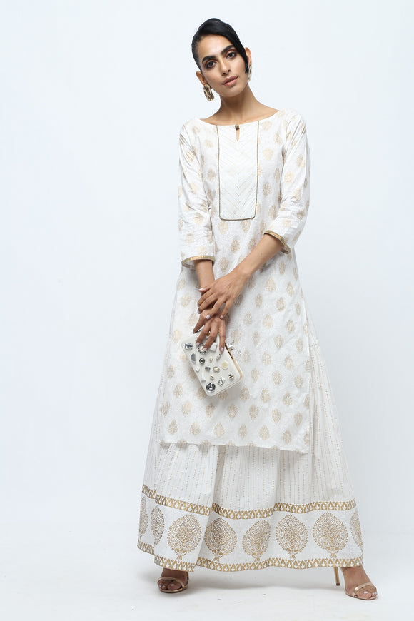 Vedana Off-White Gold Print Kurta Sharara Set