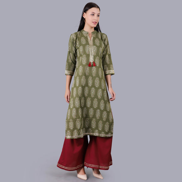 Vedana Cotton Printed Kurta And Flared Palazzo