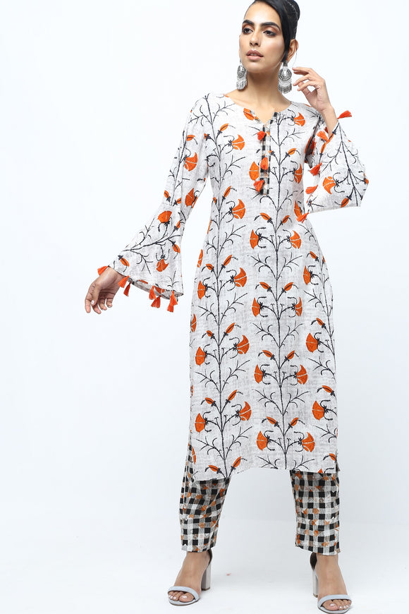 Vedana Floral Print Rayon Kurta with Pants (Grey)