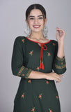 Rayon Floral Thread Embroidered Straight Kurti with Tassels Green