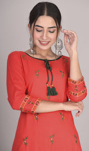 Rayon Floral Thread Embroidered Straight Kurti with Tassels Red