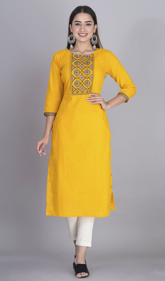 Cotton Slub Thread Embroidered Yoke Straight Kurti Mustard