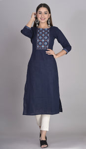 Cotton Slub Thread Embroidered Yoke Straight Kurti Navy Blue