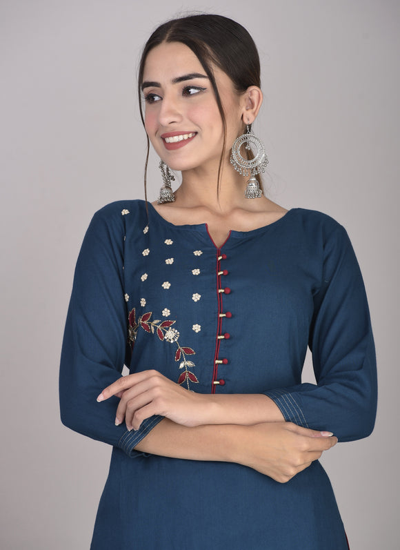 Rayon Hand Zardozi Embroidered Straight Kurta Blue
