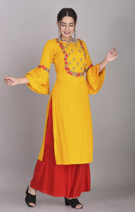Rayon Floral Embroidered Bell Sleeves Kurti Mustard