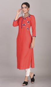 Rayon Hand Embroidered Straight Kurta Red