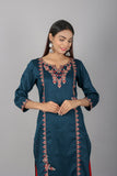 Silk Blend Embroidered Kurta with Embroidered Skirt Palazzo (Set)