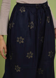 Rayon Hand-blocked Navy Blue Flared Palazzo