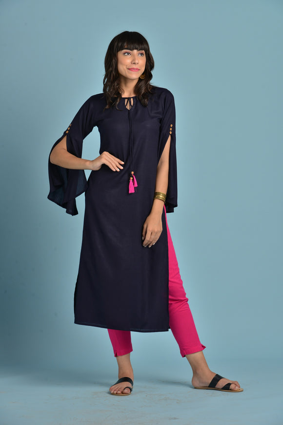 Vedana Rayon Straight Long Slit Sleeves Kurti (Navy Blue)