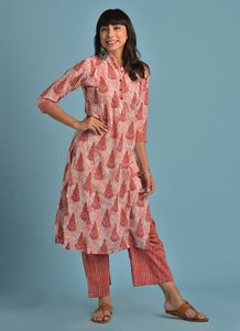 Cotton Floral Print Kurta Set (Peach)