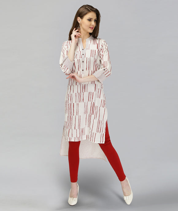 Vedana Cotton Stripes Print combination with High Low Hem (Maroon)