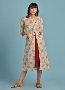 Vedana Cream Printed Layered Kurti with front pockets (Maroon)