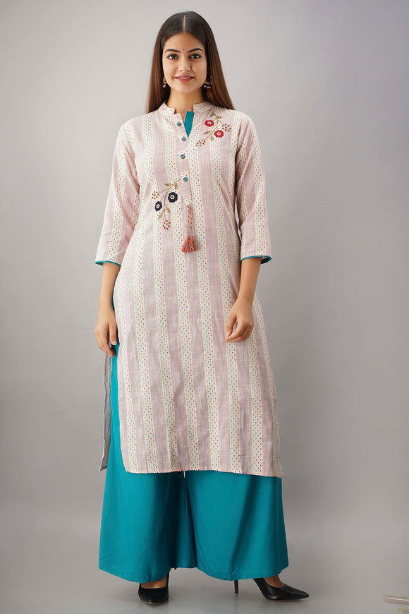 Cotton Self Woven Embroidered Straight Kurti