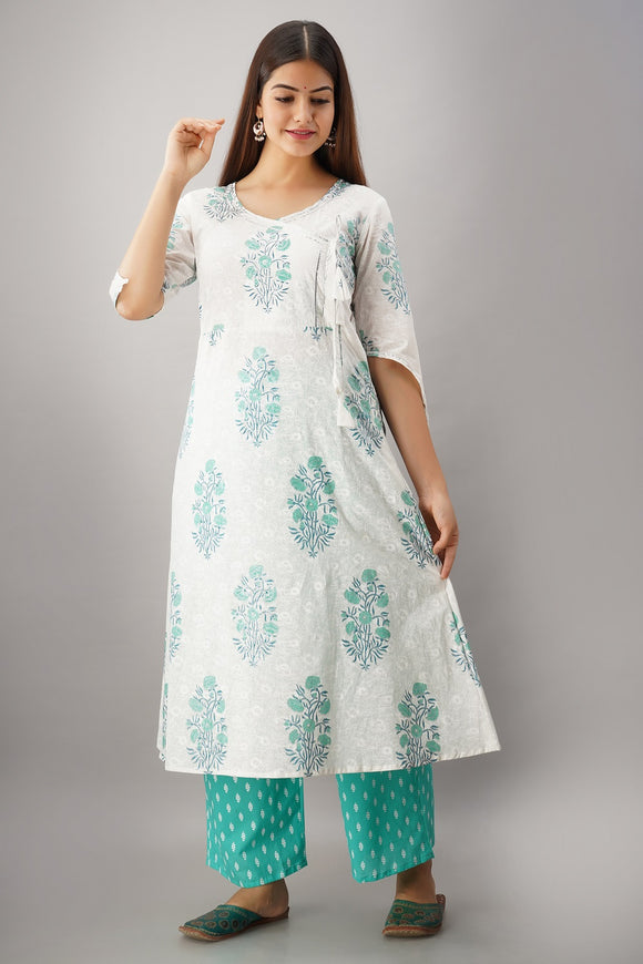 Cotton Floral Print Angrakha A-line Kurta and Palazzo Set (Green)