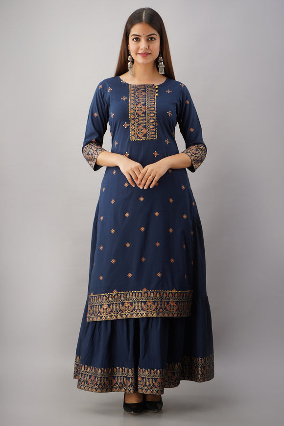 Cotton Ethnic Print Embellished Kurta and Skirt Set (Blue)