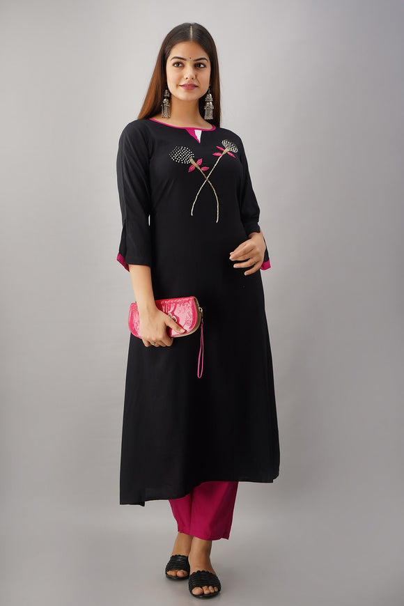 Rayon Solid Hand Embroidered A-line Kurti (Black)