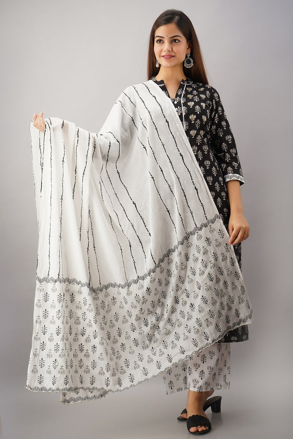 Cotton Print Black & White Embellished Kurti, Palazzo, Dupatta Set