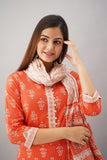 Cotton Floral Print Embellished Kurta, Palazzo and Dupatta Set