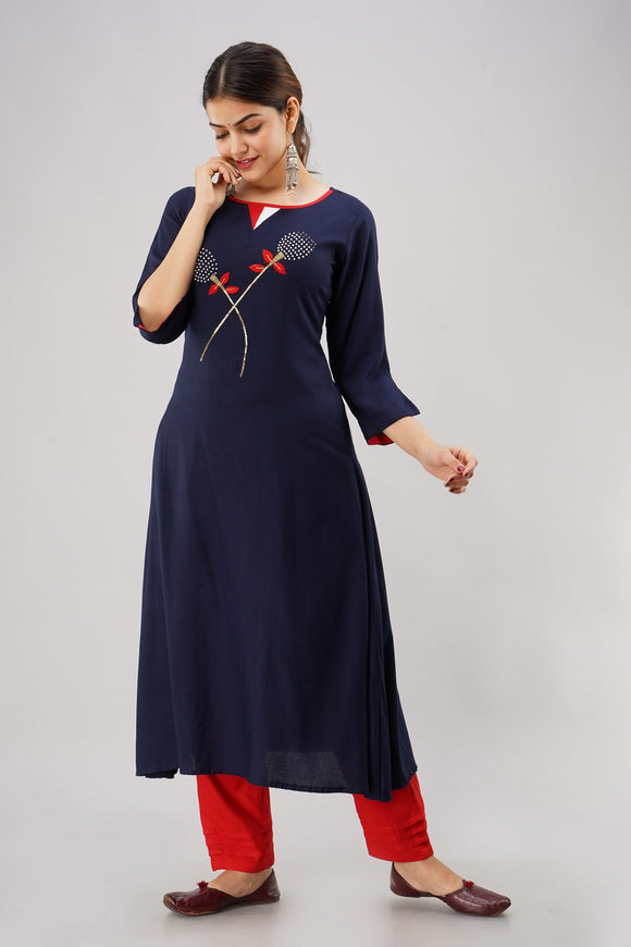 Rayon Solid Hand Embroidered A-line Kurti (Navy Blue)