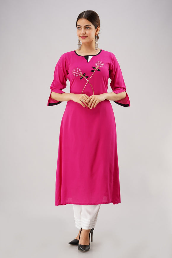 Rayon Solid Hand Embroidered A-line Kurti (Pink)