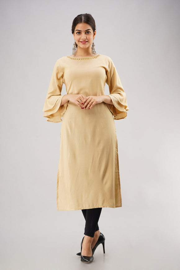 Rayon Straight Solid Bell Sleeves Kurti (Beige)