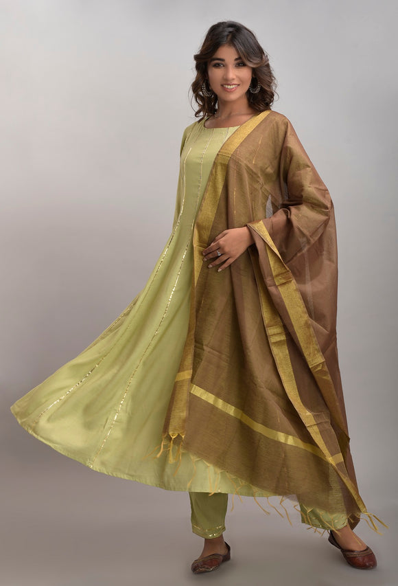 Rayon Slub Anarkali Kurta, Pant and Dupatta Set (Green)
