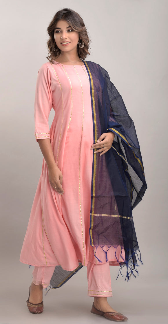 Rayon Slub Anarkali Kurta, Pant and Dupatta Set (Pink)