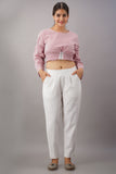 Premium Cotton Slub Crop Pants - White