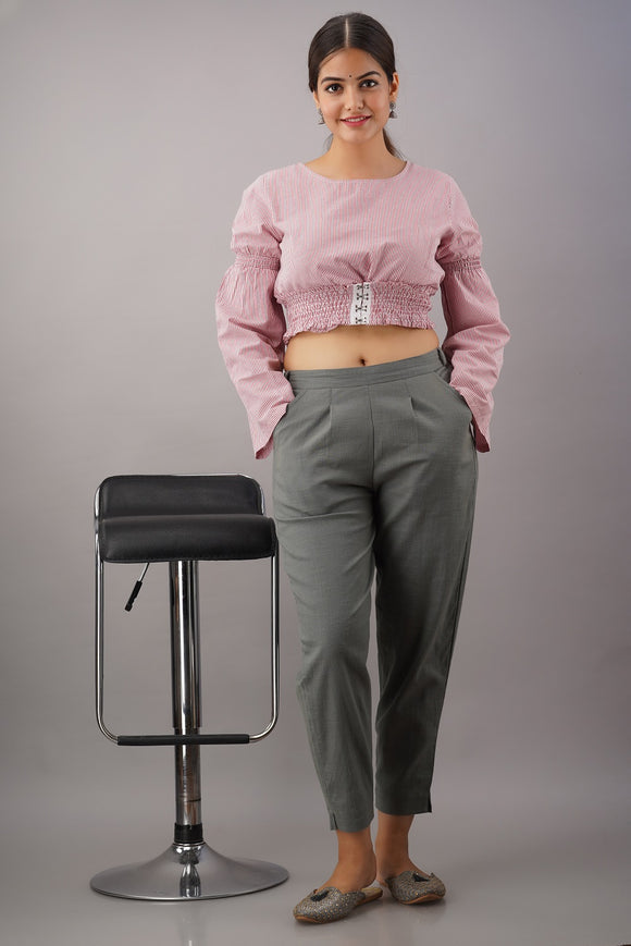 Premium Cotton Slub Crop Pants - Grey