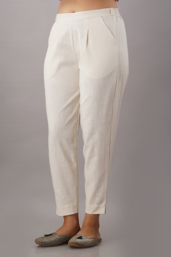 Premium Cotton Slub Crop Pants - Off-White