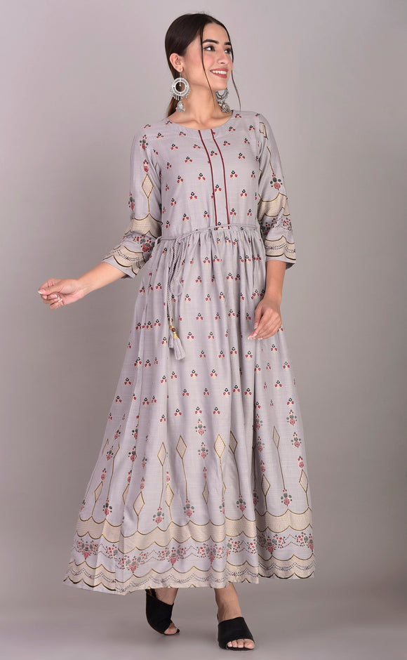 Rayon Ethnic Print Ankle Length Kurti Dress (Grey)